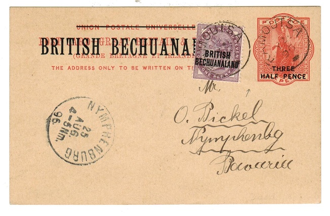 BECHUANALAND - 1893 1 1/2d on 1d red PSC to Germany uprated with additional 1d at RAMOUTSA.  H&G 8.