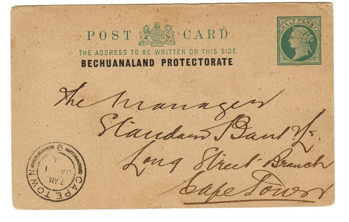 BECHUANALAND - 1901 1/2d green PSC to Cape Town.  H&G 1.