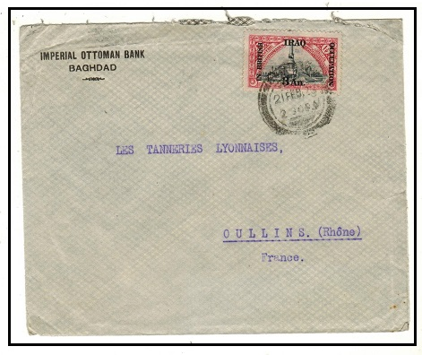 IRAQ - 1923 3a on 1 1/2pi surcharged cover to France used at BAGDAD.