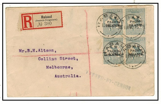 NEW GUINEA (N.W.P.I.) - 1915 4/- rate registered cover to Australia with PASSED BY CENSOR h/s.