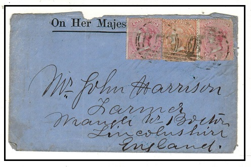 MAURITIUS - 1871 use of OHMS cover to UK bearing 3d and 4d (x2)