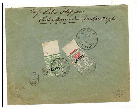 BRITISH LEVANT - 1907 2 1/2d rate cover to Italy used at CONSTANTINOPLE.