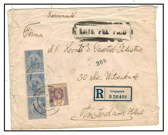 SINGAPORE - 1924 worn registered cover to Holland with scarce