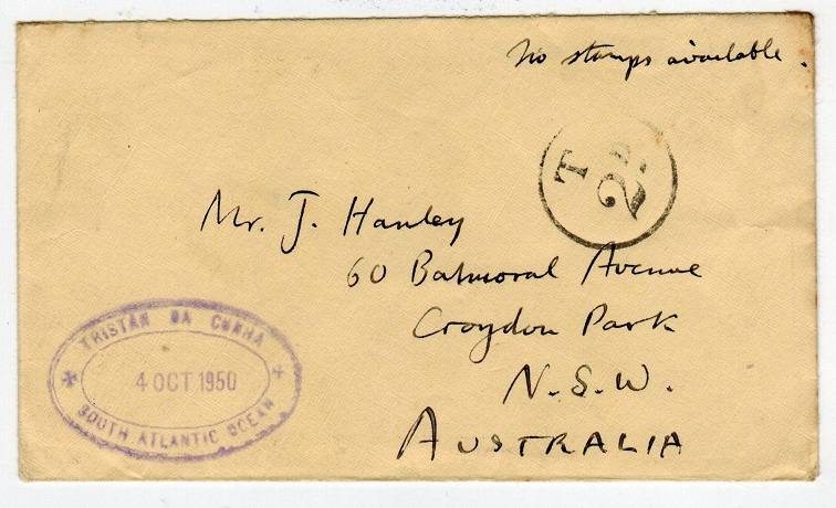 TRISTAN DA CUNHA - 1950 stampless cover to Australia with SG C12 cachet applied.