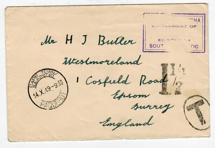 TRISTAN DA CUNHA - 1949 stampless cover to UK with SG C11 cachet applied.