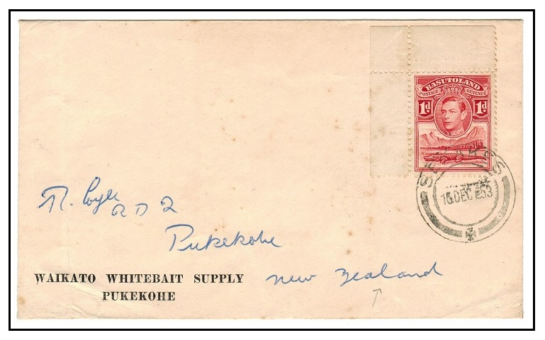 BASUTOLAND - 1953 1d rate cover to New Zealand used at SEKAKES.