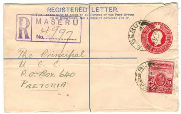 BASUTOLAND - 1933 4d RSPE used at MORIJA.  H&G 1.
