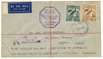 NEW GUINEA - 1934 registered first flight cover from LAE.