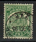 TRANSVAAL - 1892 £5 green cancelled 12.OCT.95.  SG 187.