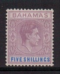BAHAMAS - 1938 5/- lilac and blue. Fine mint.  SG 156.