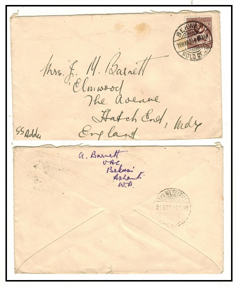 GOLD COAST - 1936 1d rate cover to UK used at BEKWAI with TPO.WESTERN 1 b/s.