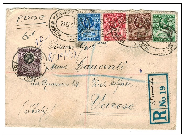 GOLD COAST - 1932 registered multi franked cover to Italy used at WINNEBA.