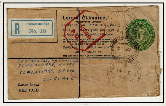 IRELAND - 1942 5 1/2d bright green RPSE censored to UK at BAILE UI HEOCHAIN.