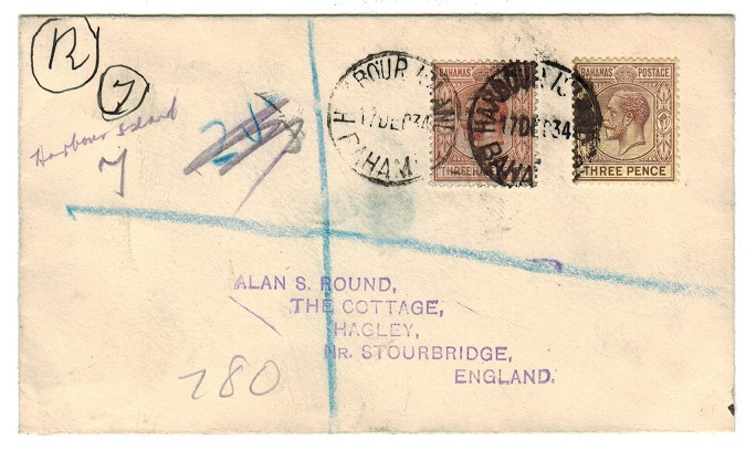 BAHAMAS - 1934 registered cover to UK from HARBOUR ISLAND.