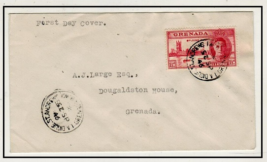 GRENADA - 1946 1 1/2d rate local cover used at LA DIGUE. ST.ANDREWS.