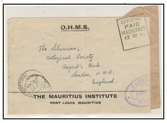 MAURITIUS - 1949 OHMS label to UK cancelled