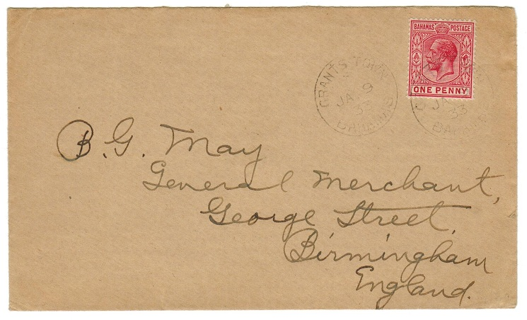 BAHAMAS - 1933 1d rate cover to UK from GRANTS TOWN.