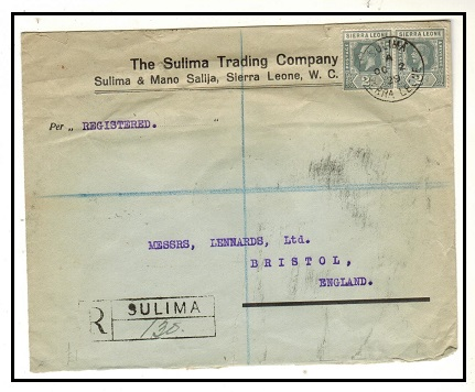 SIERRA LEONE - 1929 4d rate commercial cover to UK used at SULIMA.