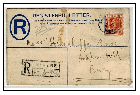 SIERRA LEONE - 1912 2d blue RPSE uprated to UK used at MAKENE.  H&G 3.