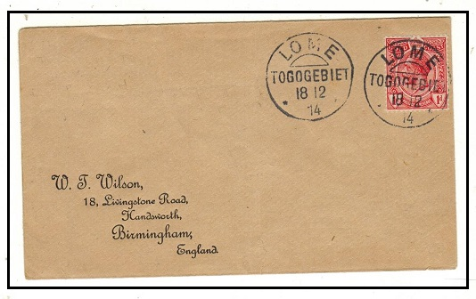 TOGO - 1914 1d rate (un-overprinted Gold Coast) cover to UK used at LOME/TOGO.