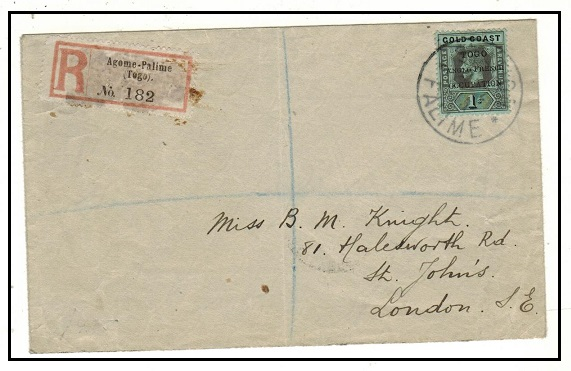 TOGO - 1915 1/- rate registered cover to UK used at STATION PALIME.