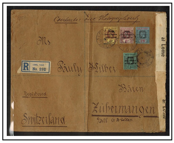 TOGO - 1918 large registered cover to Switzerland with rare