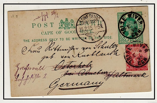CAPE OF GOOD HOPE - 1892 1/2d green PSC uprated to Germany used at TOISE RIVER.  H&G 5.