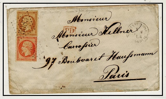 BRITISH LEVANT - 1864 50c rate cover to France used at