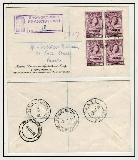 BECHUANALAND - 1960 2/- rate registered local cover used at SHOWGROUNDS/FRANCISTOWN.