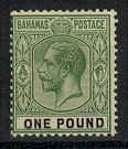 BAHAMAS - 1926 £1 green and black. Fine mint.  SG 125.