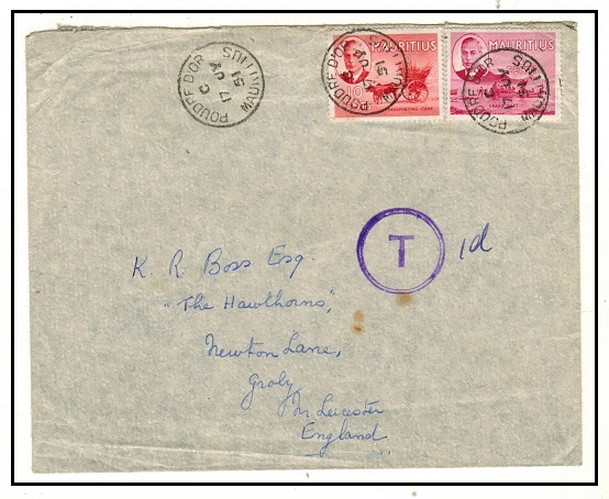 MAURITIUS - 1951 underpaid cover to UK with scarce circular