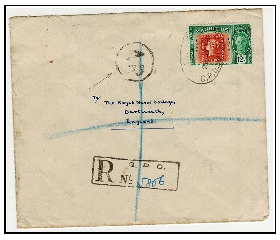 MAURITIUS - 1948 12c rate registered cover to UK with