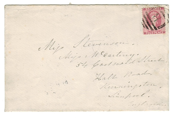 BAHAMAS - 1884 cover to UK with 4d rose