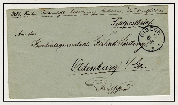 SOUTH WEST AFRICA - 1905 stampless cover to Germany used at GIBEON.