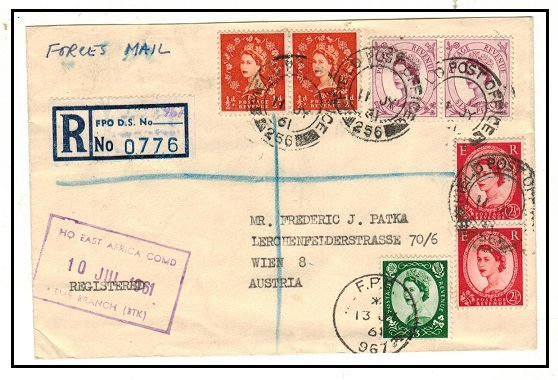K.U.T. - 1961 2/7d rate registered cover to Austria used at FPO/256.
