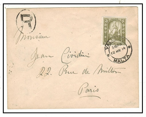 MALTA - 1914 2/6d rate registered cover to France used at VALLETTA.