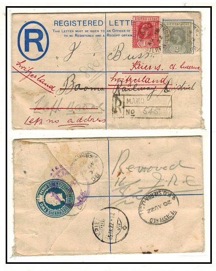 SIERRA LEONE - 1912 2d RPSE uprated to Switzerland used at MANO.  H&G 3.