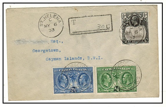 ST.HELENA - 1933 1/2d underpaid cover to Caymans bearing Cayman Island 1/2d+2 1/2d stamps as dues.