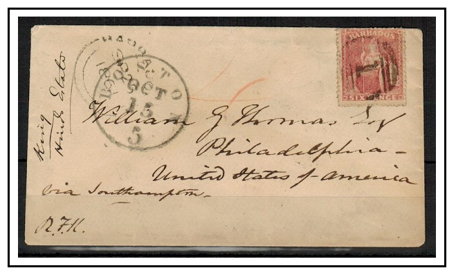 BARBADOS - 1861 6d rate cover to USA.