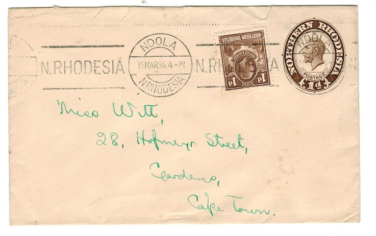 NORTHERN RHODESIA - 1930 1d brown on cream PSE used from NDOLA.  H&G 2a.