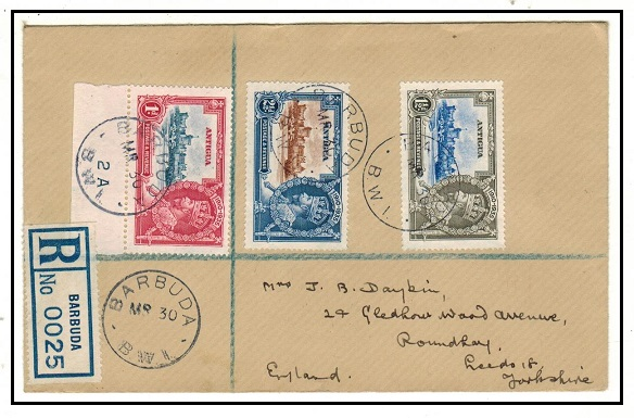 BARBUDA - 1935 registered cover to UK with Antigua