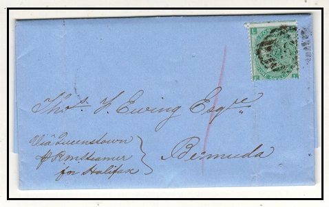 BERMUDA - 1865 inward 1/- rate entire from UK.