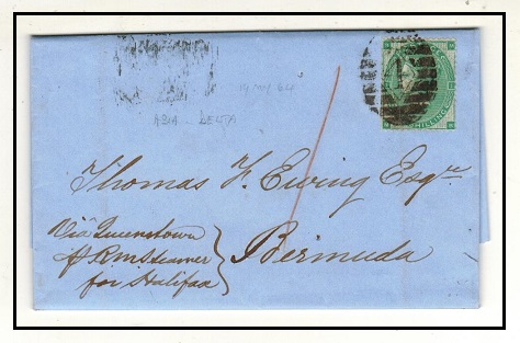 BERMUDA - 1864 inward 1/- rate entire from UK.