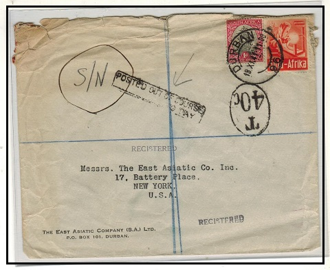 SOUTH AFRICA - 1941 underpaid tax cover to USA struck POSTED OUT OF COURSE/...TO PAY.