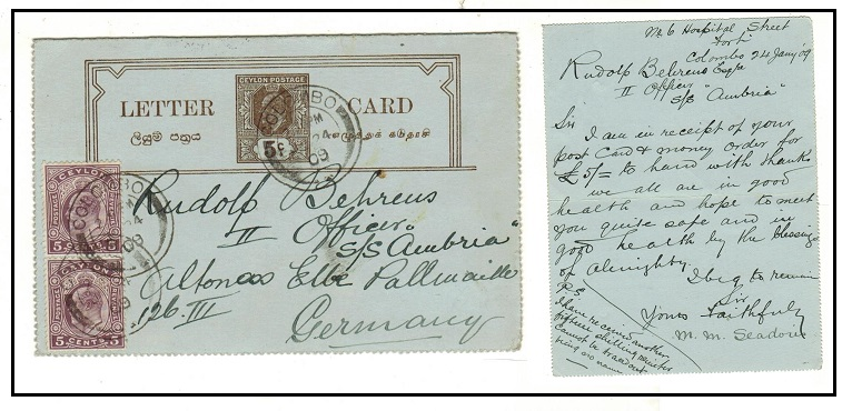 CEYLON - 1903 5c brownish black uprated postal stationery letter card to Germany.  H&G 5.