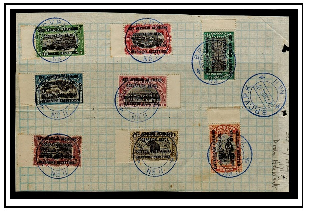 TANGANYIKA - 1915 set to 5f of Belgian Congo overprinted on piece cancelled B.P.C.V.P.K./No.11.