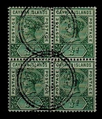 CAYMAN ISLANDS - 1900 1/2d pale green (SG 1a) fine used block of four.