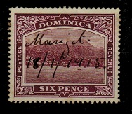 DOMINICA - 1909 6d (SG 52) with manuscript MAGIGOT village cancel.