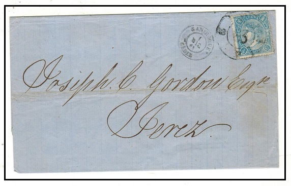 GIBRALTAR - 1865 outer wrapper to Spain with Spanish 4c blue use at SAN ROQUE/CADIZ.