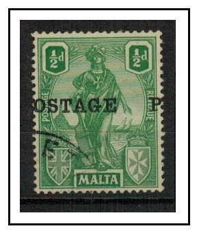 MALTA - 1926 1/2d green used with MISPLACED OVERPRINT.  SG 144.